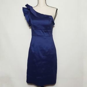 Eliza J one shoulder navy blue ruffle dress